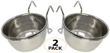 2050 Pk2 Stainless Steel 5 oz Cage Coop Hook Cup Bird Dog Food Water Bowl Animal