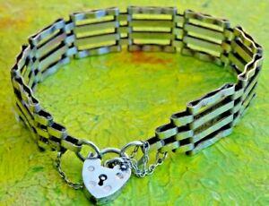 Fantastic vintage solid sterling silver gate bracelet with padlock & chain. 1984