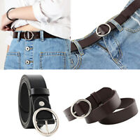 Women Lady Vintage Metal Boho Leather Round Buckle Waist Belt Solid Waistband FT