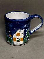 "Stoneware Blue Winter Christmas 4"" tall Coffee Mug Cup Reindeer Snow Signed"