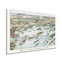 1906 Map of Casco Bay Portland Maine - Vintage Casco Bay Wall Art Poster Print