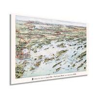 1906 Map of Casco Bay Portland Maine - Vintage Casco Bay Wall Art Poster Print