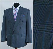 Mens Check Plaid Double Breasted Blazer Jacket ROY ROBSON SIZE L Large, UK 40