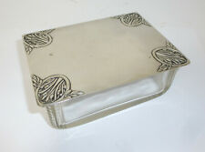 Art Nouveau Can Um 1900 Glass Brass Silver Plated Stamped