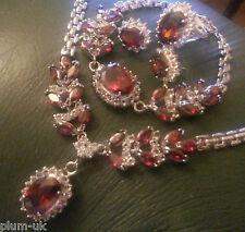 Garnets+diamante WHITE GOLD GF STATEMENT necklace bracelet ring earring BOXD SET