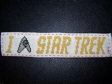"Cross Stitched ""I [Engineer/Security Badge] Star Trek"" Bookmark"