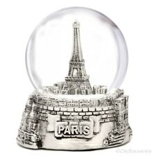 Silver Paris Snow Globe Eiffel Tower Snow Globe 3.5 Inches Tall France Souvenir