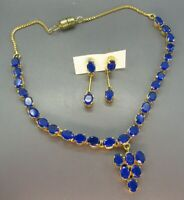 STUNNING Gold Tone VIBRANT BLUE PASTE STONES Necklace Earrings Set CHOKER VTG