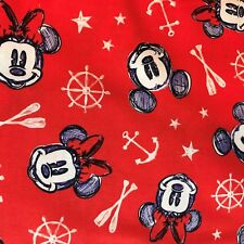 Fabric Mickey and Minnie Aye Aye Cotton Fabric from Springs Creative RED