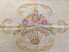 Hand Stitched Needlework Basket of Flowers - Pillow Molter-Reinhard Idleart