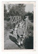 23/309 FOTO KIND PFERD HUND BRÜCKE SPIELZEUG STECKENPFERD