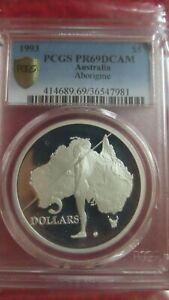 Australia 1993 Aboriginal Exploration 5 Dollars 1.06oz Silver Coin PCGS PR69 HOT