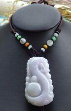 Certified Lavender Natural A Jade jadeite Pendant Dragon Bat Lotus 生意兴隆 460998