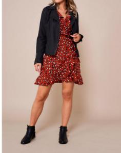 John  Zack  Wrap Mini  Dress  Frill  leopard Animal print ladies womens