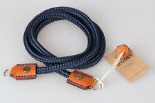 LETHAUS - ROPE CAMERA STRAP WITH LEATHER CONNECTOR - (DARKBLUE / CONIAC)