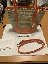 Brahmin Small Bowie Poppy Mantle Straw and Leather Orange