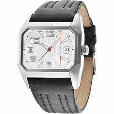 Police Voyager Silver Dial Leather Strap Mens Watch 14102JS-04