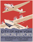 "Cool Retro Travel Poster CANVAS ART PRINT New York Airports 32"" x 24"""