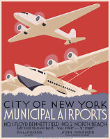 "Cool Retro Travel Poster CANVAS ART PRINT  New York Airports 32"" x 24"""
