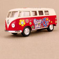 meta1962 Volkswagen Kombi Van Microbus Minibus Campervan Red Hippy 1:32 Peace