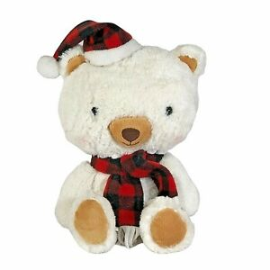 "Hallmark Plush Aspen Bear Rosy cheeks Plaid Hat & Scarf 14"" stuffed animal Toy"