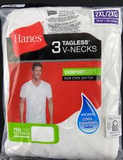 Hanes White Tag Less V Neck T-Shirts Undershirt 3-Pk. Mens 100% Cotton 2XL