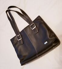 "Solo  Dark brown leather laptop bag cross 20"" couple times wearing. Excellent."