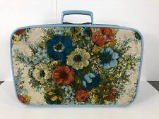 RARE Vintage Samsonite Safari III Canada Suitcase Floral Tapestry Light Blue