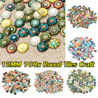 100x Round Mixed Handcraft Tile Jewelry Making Craft Glass Crafted Supply Decor