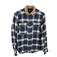 ASOS Mens Flannel Button Down Shirt Size M Plaid Corduroy Collar Long Sleeve
