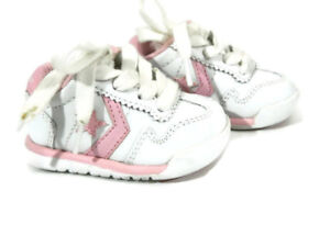 Converse All Star Player Girls Shoe 2 White Leather Sneaker Walker Infant New