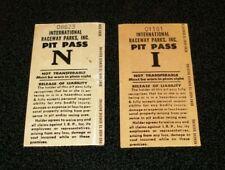 2 Vintage 1970's International Raceway Parks Pit Passes  Unused