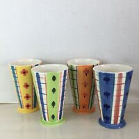 "Lillian Vernon Hand Painted Ceramic Cups Mugs Set of 4 Elegantly Tapered 6"" tall"