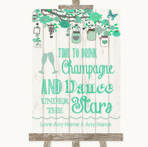 Wedding Sign Poster Print Green Rustic Wood Drink Champagne Dance Stars