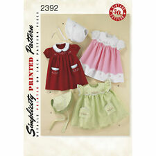 Simplicity SEWING PATTERN 2392 Babies 1950s Style Dress & Bonnet With Embroidery