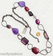 Chico's Signed Necklace Black Gunmetal Long Chain Purple & Pink Beads NWT