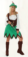 Ladies Robin Hood Costume Peter Pan Medieval Fancy Dress Maid Outfit 12-14 NEW