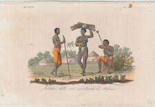 1828 Antique Costume Print - Mafumo River, Zambia - Natives & Huts - Ferrario