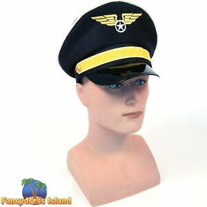 MILITARY ARMY AIRFORCE PILOT CAPTAIN'S HAT Mens Fancy Dress Costume Accessory