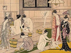 Torii Kiyonaga - Bathhouse Women, Japanese Nude, Museum Art Poster, Canvas Print