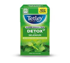 ☕ TETLEY SUPER GREEN TEA DETOX MINT 1 Box X 20 Tea Bags Teabags Selenium Relax☕