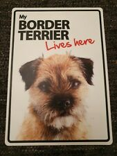 My BORDER TERRIER Lives Here A5 Plastic Sign bargain cheap