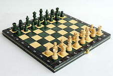 BRAND NEW HAND CRAFTED GREEN MAGNETIC TRAVEL WOODEN CHESS SET 27cm
