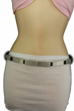 Women Silver Metal Plate Fashion Belt Long Buckle Hip Waist S M Skinny Narrow