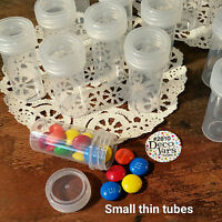 50 Tiny Tubes Vial Pills Tablet Container Clear Cap Geocache #2810 DecoJars USA