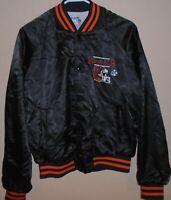 True 90s Vintage NFL Cincinnati Bengals Helmet Logo Black Satin Jacket Size M