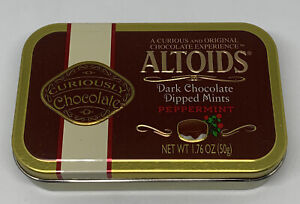 VTG Rare Altoids Chocolate Dipped Mints Embossed Metal Candy Tin Discontinued