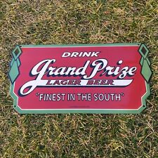 "VINTAGE GRAND PRIZE LAGER BEER 22"" PORCELAIN METAL GASOLINE & OIL PUMP SHOP SIGN"