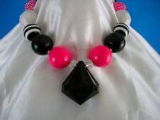 Posh And Prissy Chucky Necklace Black Diamond Hot pInk Sparkle Girls Plastic