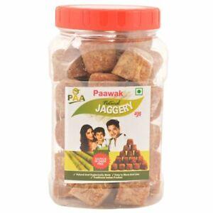 Organic Vegan Jaggery Paawak Natural Jaggery Cubes, 500 gm Pet Jar Certified